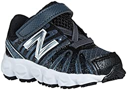 New Balance KV890 Hook and Loop Running Shoe (Infant/Toddler), Black/White, 2 M US Infant
