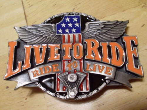 LIVE TO RIDE Biker Rider Belt Buckle Chopper
