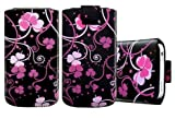 Wayzon Premium Organic PU Leather Pacific Flower Slide iN Pull Tab Pouch Sleeve Case Cover Skin Wallet Holster Shell Pocket For Blackberry Torch 9860