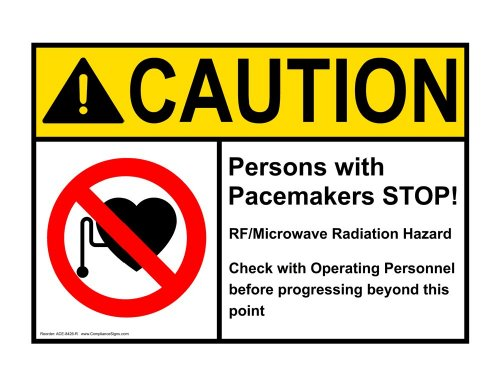 Compliancesigns Aluminum Ansi Caution Sign, 14 X 10 In. With Mri / X-Ray / Microwave Info In English, White