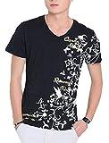 (ラ プレス) la presse お兄系 トライバル 花柄 蝶 半袖 Tシャツ トップス メンズ 634 (ブラック(XL))