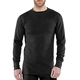 Carhartt Men\'s 100639 Force® Heavyweight Cotton Thermal Crew Neck Top - 2X-Large Tall - Black