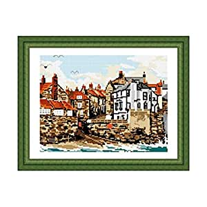 Brigantia Needlework Robin Hoods Bay Tapestry Picture Kit in Tent Stitch