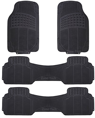 Zone Tech 4 Piece Black Universal Fit Trim able Premium Quality Full Rubber-All Weather Heavy Duty Vehicle Floor Mats