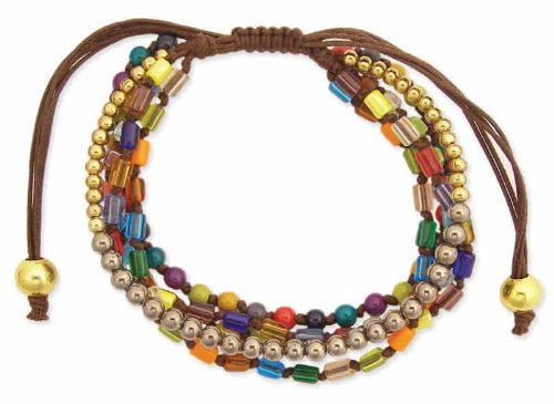 Multi Colored Bead & Cord 5 Line Wrap Bracelet