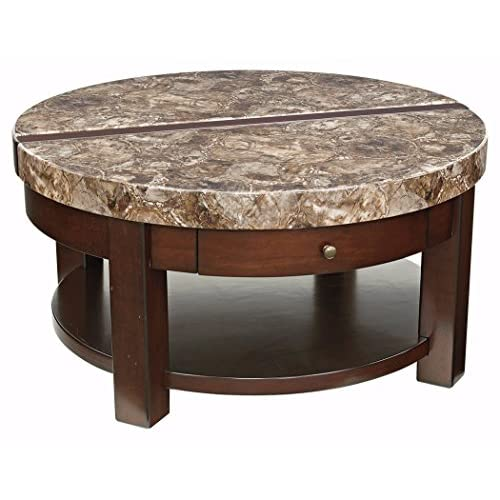 Ashley Furniture Signature Design - Kraleene Round Lift Top Coffee Table - 1 Fixed Shelf - Contemporary Living - Dark Brown