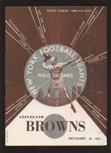 November 18 1951 NFL Football Program Cleveland Browns at New York Giants at Amazon.com