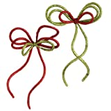 RAZ Imports - Glittered Red & Lime Green Rope Bow Ornaments