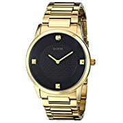 GUESS Men's Sleek Gold-Tone Watch with Diamond Accented Black Dial U0428G1