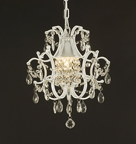 Wrought Iron Crystal Chandelier Lighting Country French White , One Light , Free Shipping , Ceiling Fixture