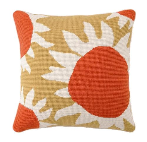 Trina Turk Down-Filled Needlepoint Pillow, Sunflower,