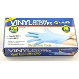 100 Powder Free Vinyl Blue Disposable Gloves Medium