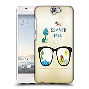 Snoogg summer vector illustration with glasses bird rays ball water palm tree sun Designer Protective Back Case Cover For HTC one A9