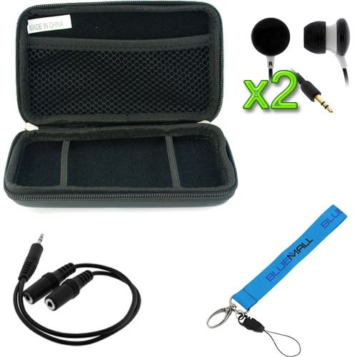 GTMax Black Eva Pouch Case + 3.5mm Stereo Audio 1 Male to 2 Female Splitter Adapter + 2x Black Candy Stereo Headset with Soft Gel Earbud 3.5mm + Blue Wrist Strap Lanyard for Nintendo 3DS