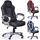 Tinxs LUXURY RACING HIGH BACK GAMING DESIGNER OFFICE CHAIR DESK CHAIR PLUS RECLINING FUNCTION BLACK RED BLUE Faux Leather (Black)