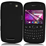 Supergets® Black Keypad Silicone Case For Blackberry Curve 9360, Screen Protector And Polishing Cloth