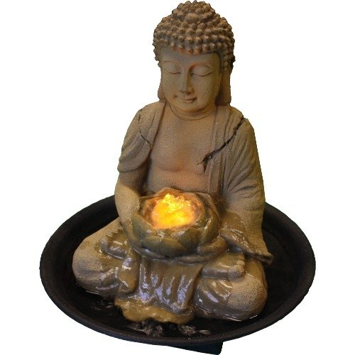 Welland Sitting Buddha Indoor Tabletop Water Fountain with Led Light