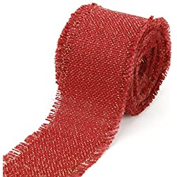 "Kel-Toy Fringed Edge Burlap Ribbon with Gold Metallic Thread, 2.5"" by 10 yd., Red"