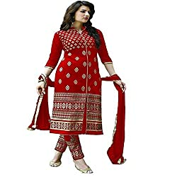 Navratri Special Red Color Dress Material For Women