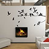 UberLyfe Black Leafy Branch with Birds Pigmented Polyvinyl Wall Sticker (Wall Covering Area: 80cm x 180cm)