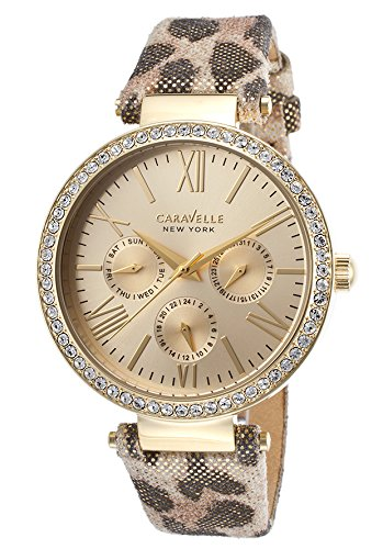 Caravelle by Bulova Women's Multicolor Leather Band Gold Tone Steel Case Quartz Analog Watch 44N103
