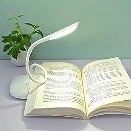 LED SopoTek Touch Sensor LED Eye Protection Cordless Table Reading Lamp/Desk Light Rechargeable Lithium Battery, 3 Level Adjustable Brightness, Flexible Neck (White)