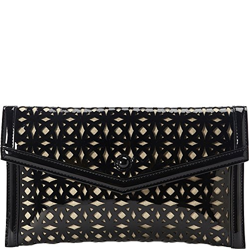 sondra-roberts-perforated-patent-clutch-black