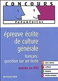echange, troc Marie Péan, Valérie Béal - Epreuve écrite de culture générale : Français : question sur un texte Entrée en FSI