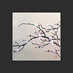 King Silk Art 100% Handmade Embroidery Unframed Pink Plum Blossoms Tree Oriental Wall Hanging Art Asian Decoration Tapestry Artwork Picture Gifts 36116B