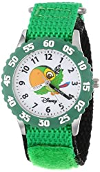 """Disney Kids' W000382 """"Time Teacher"""" Jake and the Neverland Pirates Stainless Steel Watch With Green Nylon Band"""