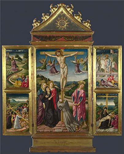 Perfect Effect Canvas ,the Best Price Art Decorative Canvas Prints Of Oil Painting 'Niccolo Di Liberatore-Christ On The Cross, And Other Scenes,1487', 12x15 Inch / 30x38 Cm Is Best For Garage Decor And Home Artwork And Gifts (Draw On Coffee compare prices)