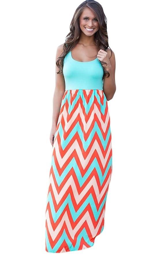 Bluetime Women's Sleeveless Floral Print Striped High Waist Maxi Long Tank Dress