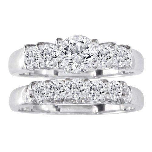SuperJeweler 14k White Gold Diamond Bridal Engagent Ring Set 1/2ct tw I/J SI3