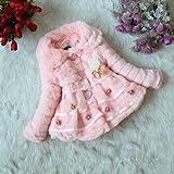 Zicac Neue Baby-Kleidung Prinzess Wintermantel Winterjacke Kleinkinder Mädchen Fau Coat Fleece gefüttert Kids Winter warme Jacke Neue Baby-Kleidung Wintermantel mädchen Kids Jacket Kleid (Asia Tag 6/ (2-3J), Pink)
