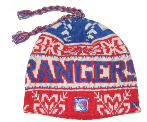 New York Rangers NHL Tassle Top Knit Beanie Toque Cap by Reebok at Amazon.com