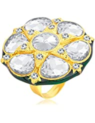 Sukkhi Fine Designer Traditional Cocktail Gold Plated American Diamond Finger Ring For Women