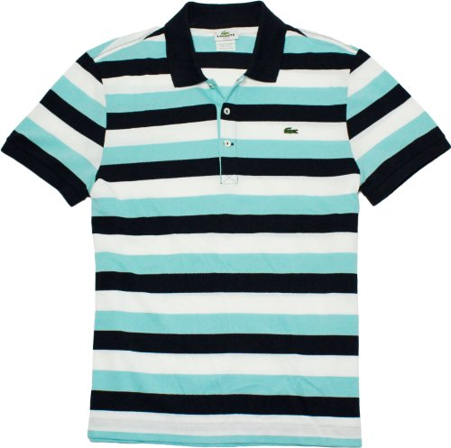 Lacoste Short Sleeve Bold Stripe Pique Polo Shirt-Capri Blue Multi (XL)