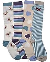4 Pair pack of Ladies Long Socks - Knee High Boot socks
