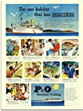 P & O Cruises, Vintage Travel Advert, 1950s (30x40cm Art Print)