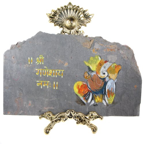 Hand Painted Ganesh Slate on a Decorative Stand