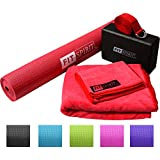 "Fit Spirit® Yoga Starter Set Kit - Includes 3mm 1/8"" Inch PVC Exercise Mat and Optional Yoga Block, Yoga Towels & Yoga Strap - Choose Your Color & Accessories"
