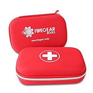 BEST First Aid Kit Emergency Essentials - Red Hard Case with White Cross - Perfect for Backpacking, Camping, Sports, Kitchen, Survival, Office, Home, Car, Hunting, College, Work & Travel - BUY NOW!