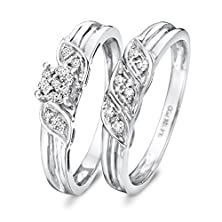 buy 1/6 Carat T.W. Round Cut Diamond Engagement Ring And Band Set 14K White Gold
