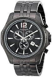 Akribos XXIV Mens AK662BK Ultimate Swiss Quartz Chronograph Black Stainless Steel Bracelet Watch