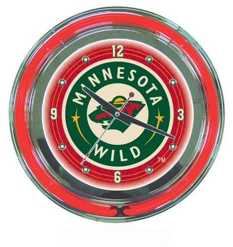 NHL Minnesota Wild Neon Clock - 14 inch Diameter - Game Room Products Neon Clocks NHL - Hockey