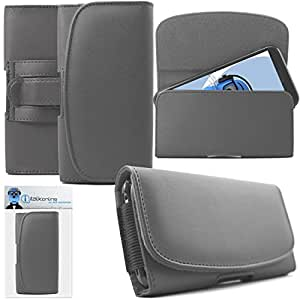 Yezz Andy 5.5M LTE VR Grey PREMIUM PU Leather Horizontal Executive Side Pouch Case Cover Holster with Belt Loop Clip and Magnetic Closure