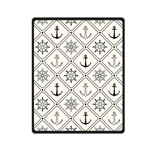 Personalized Fashion Nautical Anchor And Rudder Picture Fleece Blanket 40 X 50 back-1026125