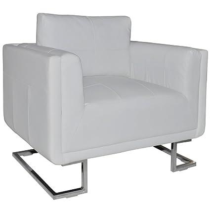vidaXL Poltrona in cuoio bianco di alta qualità con i piedi cromati