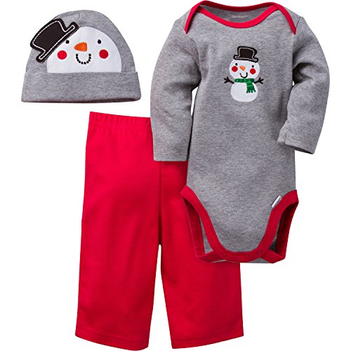 Gerber Boys' ' 3 Piece Bodysuit, Snowman, 0-3 Months