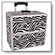 Animal Print Rolling Makeup Case with Removable Handle and Dividers Color: Zebra
